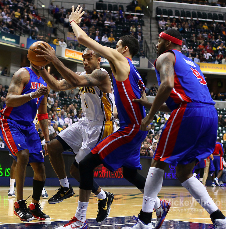 Feb. 23, 2011; Indianapolis, IN, USA; Indiana Pacers guard Dahntay Jones (1) takes the ball to the hoop against the Detroit Pistons at Conseco Fieldhouse. Indiana defeated Detroit 102-101. Mandatory credit: Michael Hickey-US PRESSWIRE