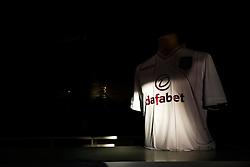An Aston Villa away shirt on sale outside Villa Park - Photo mandatory by-line: Rogan Thomson/JMP - 07966 386802 - 07/04/2015 - SPORT - FOOTBALL - Birmingham, England - Villa Park - Aston Villa v Queens Park Rangers - Barclays Premier League.