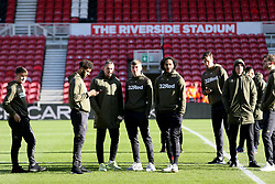 Leeds players on the pitch at Middlesbrough's Riverside Football Stadium before the Sky Bet Championship match at The Riverside Stadium, Middlesbrough.
