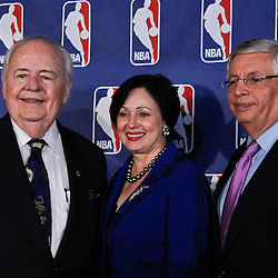 April 16, 2012; New Orleans, LA, USA; New Orleans Hornets and Saints owner Tom Benson and his wife Gayle Benson with NBA commissioner David Stern at press conference announcing ownership to the Benson's and the awarding of the 2014 All Star game to the city of New Orleans at the New Orleans Arena.   Mandatory Credit: Derick E. Hingle-US PRESSWIRE