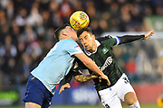 Billy Kee (29) of Accrington Stanley clashes with Gary Sawyer (3) of Plymouth Argyle as they both try to head the ball during the EFL Sky Bet League 1 match between Plymouth Argyle and Accrington Stanley at Home Park, Plymouth, England on 22 December 2018.