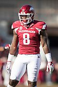 FAYETTEVILLE, AR - NOVEMBER 24:  De'Jon Harris #8 of the Arkansas Razorbacks on the field during a game against the Missouri Tigers at Razorback Stadium on November 24, 2017 in Fayetteville, Arkansas.  The Tigers defeated the Razorbacks 48-45.  (Photo by Wesley Hitt/Getty Images) *** Local Caption *** De'Jon Harris
