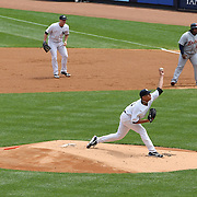 Andy Pettitte pitching for the New York Yankees during the New York Yankees V Detroit Tigers Major League Baseball regular season baseball game at Yankee Stadium, The Bronx, New York. 11th August 2013. Photo Tim Clayton