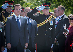 © Licensed to London News Pictures. 10/06/2015. Alrewas, UK. His Royal Highness Prince Harry of Wales and Prime Minister David Cameron attended a Service of Dedication to inaugurate the Bastion Memorial, for those who lost their lives during combat operations in Afghanistan.  Over 2000 guests attended the ceremony.   Photo credit : Alison Baskerville/LNP