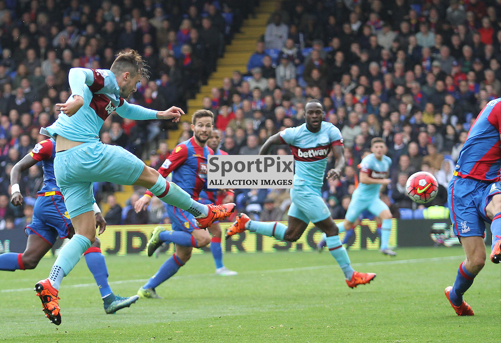 Goal scorer Carl Jenkinson fires another shot on the Palace goal