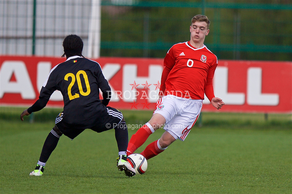 NEWPORT, WALES - Tuesday, April 26, 2016: Wales' Cameron Evans in action against Belgium during the Boys U15's Tri-Nations Tournament match at Dragon Park. (Pic by Mark Hawkins/Propaganda)