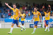 WAALWIJK, RKC Waalwijk - Vitesse, voetbal Eredivisie, seizoen 2013-2014, 11-08-2013, Mandemakers Stadion, RKC juicht, RKC Waalwijk speler Sander Duits (L) heeft de 4-2 gescoord.