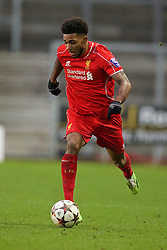 LIVERPOOL, ENGLAND - Tuesday, December 9, 2014: Liverpool's Jerome Sinclair in action against FC Basel during the UEFA Youth League Group B match at Langtree Park. (Pic by David Rawcliffe/Propaganda)