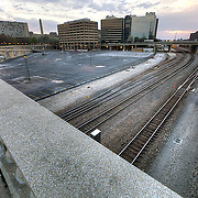 Empty lot and railway near 22nd Street between Main and Grand, Kansas City, MO. Rumors of planned development for empty space.