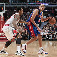 30 October 2010: Detroit Pistons Tayshaun Prince looks to pass the ball against Chicago Bulls James Johnson during the Chicago Bulls 101-91 victory over the Detroit Pistons at the United Center, in Chicago, Illinois, USA.