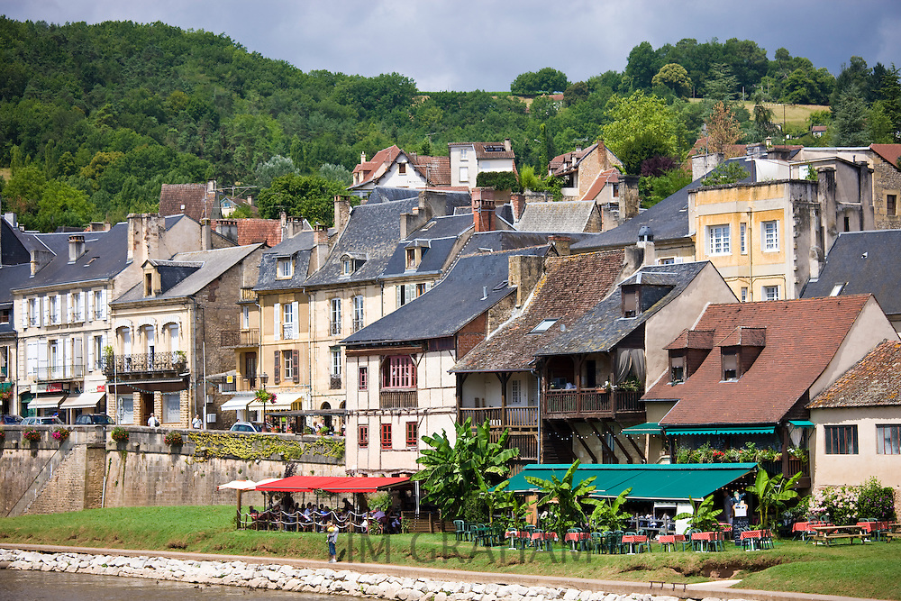 French houses in the traditional town of Montignac, Dordogne region of France