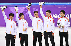 PYEONGCHANG, Feb. 22, 2018  Team China celebrate during venue ceremony of men's 5000m relay final of short track speed skating at the 2018 PyeongChang Winter Olympic Games at Gangneung Ice Arena, Gangneung, South Korea, Feb. 22, 2018. Team China claimed silver medal in a time of 6:32.035. (Credit Image: © Wang Song/Xinhua via ZUMA Wire)