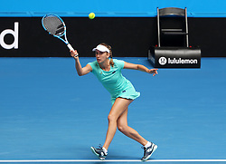 PERTH, Jan. 5, 2018  Elise Mertens of Belgium hits a return during the match between Canada and Belgium at Hopman Cup mixed teams tennis tournament in Perth, Australia, Jan. 5, 2018. Belgium won the match by 3-0. (Credit Image: © Zhou Dan/Xinhua via ZUMA Wire)
