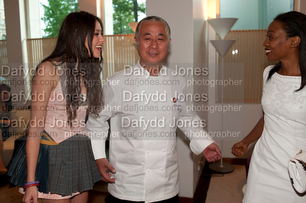 ELIZA DOOLITTLE; NOBU MATSUHISA; BEVERLEY KNIGHT, The Tomodachi ( Friends) Charity Dinner hosted by Chef Nobu Matsuhisa in aid of the Japanese Tsunami Appeal. Nobu Park Lane. London. 4 May 2011. <br /> <br />  , -DO NOT ARCHIVE-&copy; Copyright Photograph by Dafydd Jones. 248 Clapham Rd. London SW9 0PZ. Tel 0207 820 0771. www.dafjones.com.
