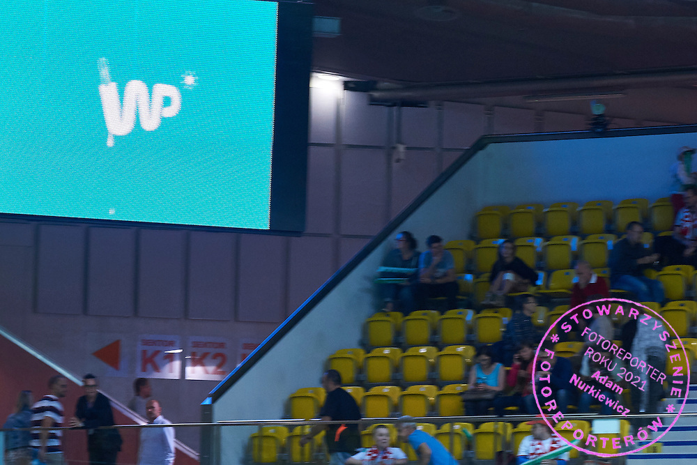Website WP.PL advertise on display board during Davis Cup Tie World Group Play-off Poland v Slovakia at Gdynia Arena Hall in Gdynia, Poland.<br /> <br /> Poland, Gdynia, September 18, 2015<br /> <br /> Picture also available in RAW (NEF) or TIFF format on special request.<br /> <br /> For editorial use only. Any commercial or promotional use requires permission.<br /> <br /> Adam Nurkiewicz declares that he has no rights to the image of people at the photographs of his authorship.<br /> <br /> Mandatory credit:<br /> Photo by &copy; Adam Nurkiewicz / Mediasport