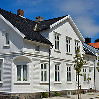 White Wooden Houses in Posebyen in Kristiansand, Norway <br />