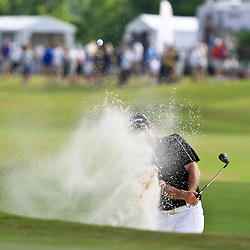 2009 April 26: Rod Pampling of Brisbane, Australia hits out of the sand on the 18th hole during the final round of the Zurich Classic of New Orleans PGA Tour golf tournament played at TPC Louisiana in Avondale, Louisiana.