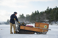 Carl Hansen has been working the cut saw since 2003 during the traditional ice harvest with Rockywold Deephaven Camp.  ©2018 Karen Bobotas Photographer