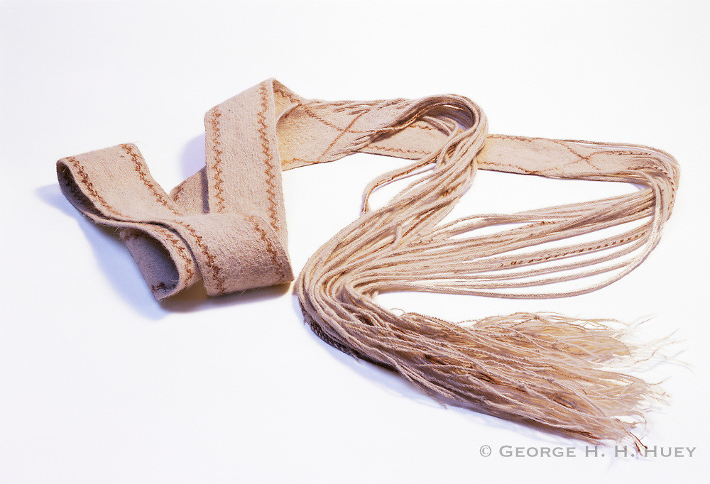 0405-1125NF ~ Copyright: George H.H. Huey ~ Prehistoric, 9 foot long dog hair sash.  Basketmaker III period [400 - 500 A.D.]  Discovered in northeast Arizona.  On display at Mesa Verde National Park, Colorado.
