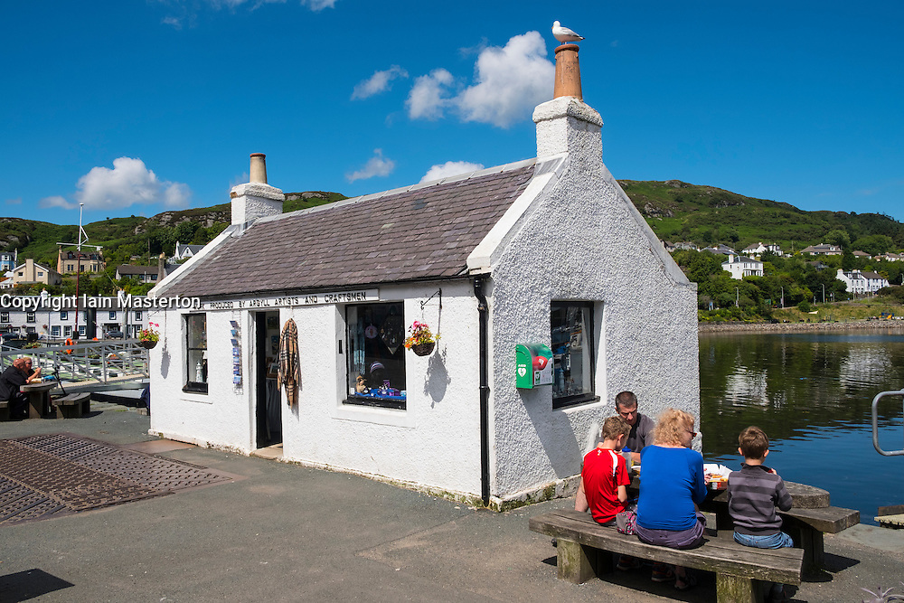 Shop on harbourside at  Tarbert on Kintyre peninsula in Argyll and Bute in Scotland, United Kingdom