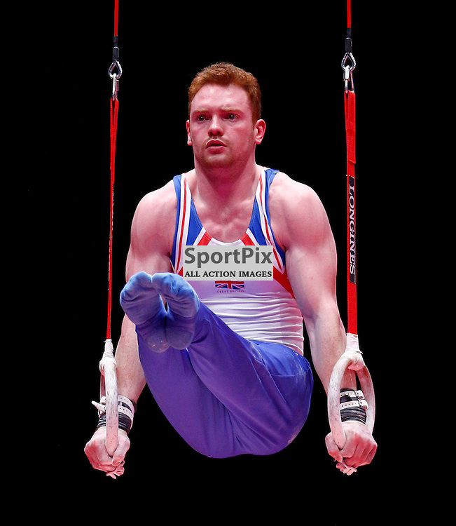 2015 Artistic Gymnastics World Championships being held in Glasgow from 23rd October to 1st November 2015....Great Britain's Daniel Purves performs in the Rings competition in the Men's Team Final...(c) STEPHEN LAWSON | SportPix.org.uk