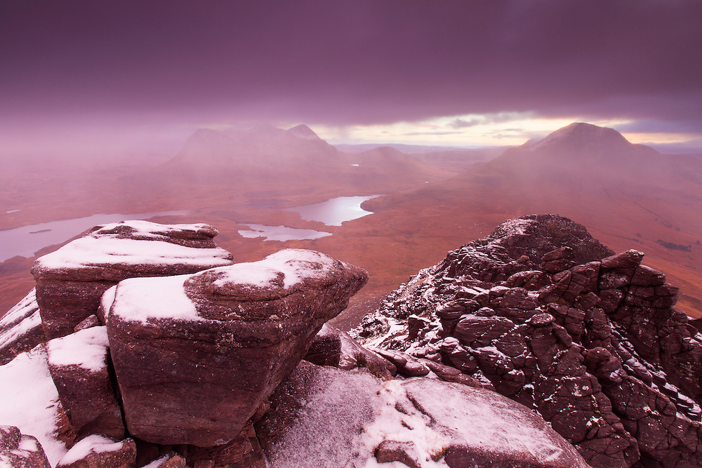 View from Stac Pollaidh towards Cul Beag and Cul Mor, Coigach, Scotland