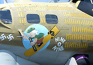 Some of the warpaint on the B17G is seen during the Wings of Freedom air show Monday August 29, 2016 at Northeast Philadelphia Airport in Philadelphia, Pennsylvania.  (Photo by William Thomas Cain)