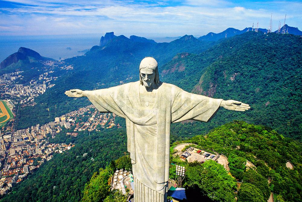 Aerial view of Statue of Christ the Redeemer (Cristo Redentor), Corcovado Mountain, Rio de Janeiro, Brazil