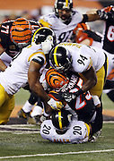 Cincinnati Bengals running back Giovani Bernard (25) gets gang tackled by Pittsburgh Steelers strong safety Will Allen (20), Pittsburgh Steelers outside linebacker James Harrison (92), and Pittsburgh Steelers inside linebacker Lawrence Timmons (94) on a third quarter run during the NFL AFC Wild Card playoff football game against the Pittsburgh Steelers on Saturday, Jan. 9, 2016 in Cincinnati. The Steelers won the game 18-16. (©Paul Anthony Spinelli)