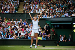 LONDON, ENGLAND - Saturday, July 5, 2014: Petra Kvitova (CZE) celebrates after winning the Ladies' Singles Final match 6-3, 6-0 on day twelve of the Wimbledon Lawn Tennis Championships at the All England Lawn Tennis and Croquet Club. (Pic by David Rawcliffe/Propaganda)