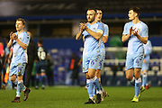 Liam Kelly, Jamie Allen, Michael Rose and Dominic Hyam clap the Coventry City fans after the The FA Cup third round replay match between Coventry City and Bristol Rovers at the Trillion Trophy Stadium, Birmingham, England on 14 January 2020.