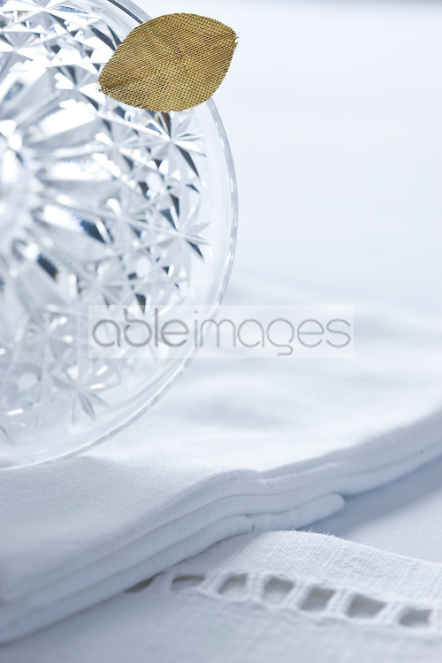 Crystal Glass with Gold Leaf on Embroidered Cloth Napkin