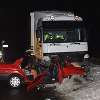 The scene on the A824 Auchterarder to Aberuthven road, 10 miles south of Perth, after a car carrying two children and their father hit black ice and skidded into the path of an oncoming lorry.   <br />see story by Gordon Currie Tel: 01738 446766<br /><br />Pic by Graeme Hart<br />Copyright Perthshire Picture Agency<br />Tel: 01738 623350 / 07990 594431