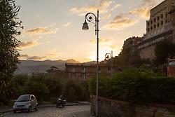 Sorrento, Italy, September 13 2017. The morning sun breaks across the mountains in Sorrento, Italy. © Paul Davey