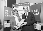 Typist Of The Year.1983.17.11.1983.11.17.1983.17th november 1983..Ms Paula Sommers won the award of Typist Of The Year which was jointly sponsored by The Irish Times and B & I Lines..Image of Ms Paula Sommers,from I.D.L,who was awarded the title of Typist Of The Year,with Mr David Dillon,Corporate Planner for the I.D.L.Group.