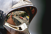 May 23-27, 2018: Monaco Grand Prix. Sebastian Vettel (GER), Scuderia Ferrari, SF71H reflected in a Monaco marshals helmet