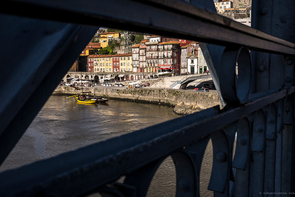 Porto ribeira as seen from Dom Luis bridge. Portugal