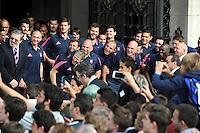 Antoine BURBAN / Djibril CAMARA  - 15.06.2015 - Presentation du bouclier de Brennus par les joueurs du Stade Francais a l'Hotel de Ville - Paris <br /> Photo : Nolwenn Le Gouic / Icon Sport