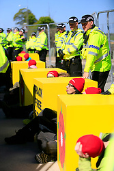 UK ENGLAND BLACKPOOL 3MAY17 - Greenpeace protesters block the entrance to Cuadrilla's Preston New Road fracking site near Blackpool  in Lancashire, northern England.<br /> <br /> The campaigners  intend to stop preparation works for the first UK frack site for gas, after the government overruled the local council decision to reject planning permission.<br /> <br /> <br /> <br /> jre/Photo by Jiri Rezac / Greenpeace<br /> <br /> <br /> <br /> &copy; Jiri Rezac 2017