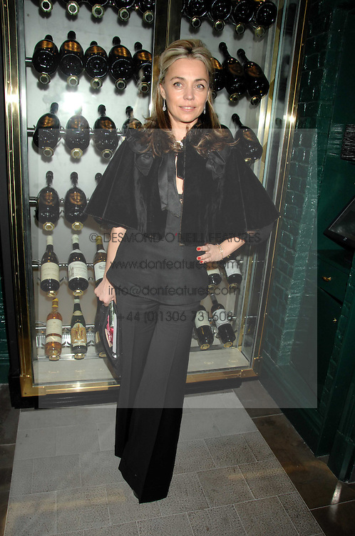 JEANNE MARINE at a party to launch the Dom Perignon OEotheque 1995 held at The Landau, Portland Place, London W1 on 26th February 2008.<br />