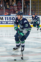 KELOWNA, BC - JANUARY 30: Matthew Wedman #21 of the Seattle Thunderbirds skates with the puck against the Kelowna Rockets at Prospera Place on January 30, 2019 in Kelowna, Canada. (Photo by Marissa Baecker/Getty Images)