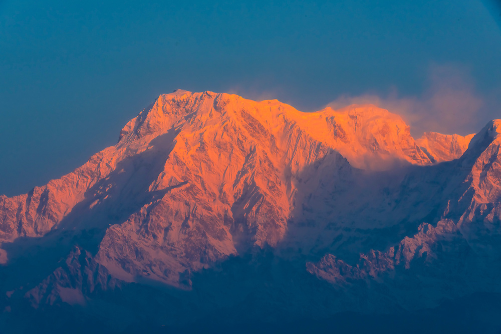 Annapurna South and Annapurna 1, two of the peaks of the Annapurna Massif of the Himalayas, seen from Sarangkot,  near Pokhara, Nepal.