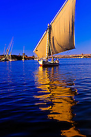 Feluccas on the Nile River at Aswan, Egypt