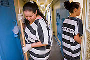 18 JULY 2005 - PHOENIX, AZ, USA: Inmates in the Maricopa County Jail, clean out a jail cell now used to shelter abandoned animals at the Maricopa Animal Safe Hospice (MASH) an animal shelter created by Maricopa County Sheriff Joe Arpaio. Arpaio created the no kill shelter in 2000 and staffs it with women inmates from the county jail system. Most of the 60 dogs and 32 cats in the shelter were rescued from abusive homes. The animals are available for adoption to homes in Maricopa County. The shelter is housed in an old jail next to the county courthouse. Working in the shelter is considered a plum assignment by inmates and there is a waiting list to be assigned to the shelter.  In 2011, the US Department of Justice issued a report highly critical of the Maricopa County Sheriff's Department and the jails. The DOJ said the Sheriff's Dept. engages in widespread discrimination against Latinos during traffic stops and immigration enforcement, violates the rights of Spanish speaking prisoners in the jails and retaliates against the Sheriff's political opponents.     PHOTO BY JACK KURTZ