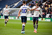 Preston North End midfielder Josh Harrop (10) celebrates his goal with team-mates  during the EFL Sky Bet Championship match between Preston North End and Charlton Athletic at Deepdale, Preston, England on 18 January 2020.