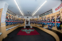 KELOWNA, CANADA - SEPTEMBER 24: Equipment manager, Chadyn Johnson stands in the Kelowna Rockets' dressing room prior to the home opener against the Kamloops Blazers on September 24, 2016 at Prospera Place in Kelowna, British Columbia, Canada.  (Photo by Marissa Baecker/Shoot the Breeze)  *** Local Caption *** Chadyn Johnson;
