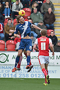 Michael Morrison of Birmingham city  and Rotherham United defender Kirk Broadfoot go for the ball in the air during the Sky Bet Championship match between Rotherham United and Birmingham City at the New York Stadium, Rotherham, England on 13 February 2016. Photo by Ian Lyall.