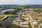 Nederland, Noord-Brabant, Den Bosch, 27-05-2013; Plan Zuid / De Pettelaar. Provinciehuis en Zuiderplas. In het water de gerestaureerde Pettelaarse Schans.<br /> Stadsuitbreiding en nieuwbouwwijk uit de jaren vijftig en zestig van de vorige eeuw, wederopbouwperiode. Groen en ruim opgezet.<br /> New residential area built in the fifties and sixties in Den Bosch. Spacious and plentyful green areas.<br /> Reconstruction area.<br /> luchtfoto (toeslag op standard tarieven)<br /> aerial photo (additional fee required)<br /> copyright foto/photo Siebe Swart