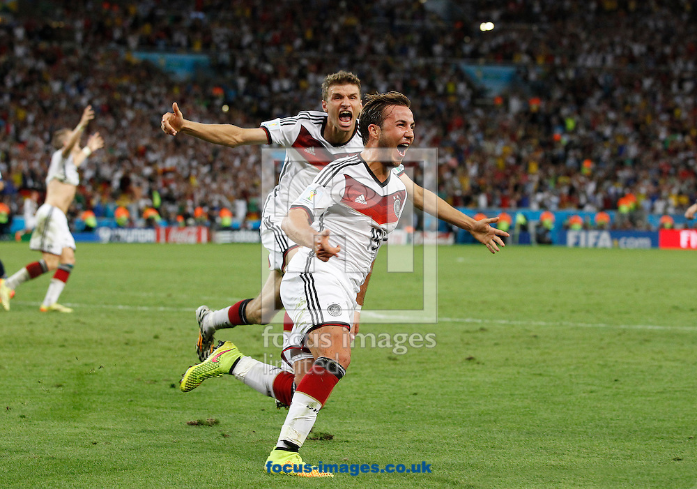 Germany's Mario G&ouml;tze celebrates scoring their first goal during the 2014 FIFA World Cup Final match at Maracana Stadium, Rio de Janeiro<br /> Picture by Andrew Tobin/Focus Images Ltd +44 7710 761829<br /> 13/07/2014