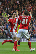 Lee Tomlin celebrates his goal during the Sky Bet Championship Play Off Second Leg match between Middlesbrough and Brentford at the Riverside Stadium, Middlesbrough, England on 15 May 2015. Photo by Simon Davies.